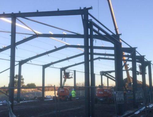 Machine shop steel shell erected